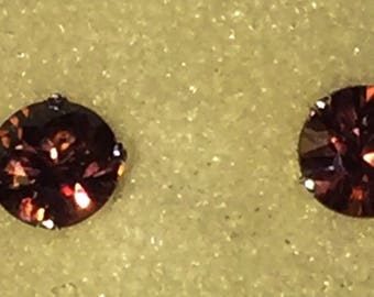 Deep rose pink champagne zircon stud earrings .92 carats natural color