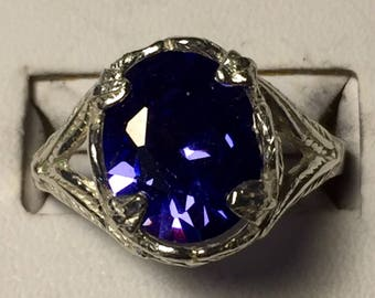Periwinkle zircon silver ring -size 8