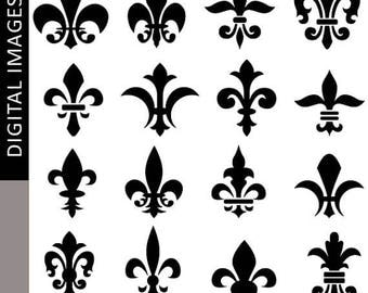35% OFF SALE Fleur de lis silhouette clipart - decorative element fleur de lis clip art - digital images, commercial use