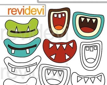 35% OFF SALE Monster grins clipart and digital stamps - monster grins mouth digital clipart - instant download - commercial use