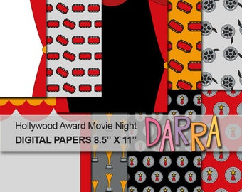 Digital papers Hollywood Movie Night Award / Red carpet party paper printable, commercial use / movie night paper / instant download