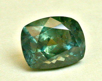 VINTAGE MONTANA SAPPHIRE Faceted Rock Creek Blue-Green Loose Gemstone 3.52cts fg173