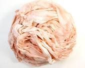 mocha .. hand dyed silk ribbon yarn, recycled silk fabric ribbon, soft knitting, weaving, crochet supply