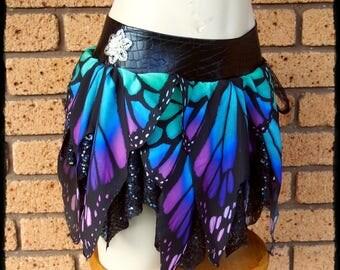 Butterfly Wing Pixie Skirt Belt, Size Small to Medium - Ready to Ship - Festival Boho Fae Fairy Costume EDC Burning Man Mini