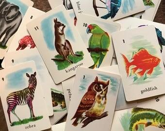 Vintage Animal Bird Fish Card Game - Complete - Cute Animal Card Game, Vintage Animal Cards, Children's Card Game, Edu Cards Game