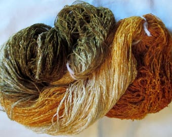 Handpainted Soft Rayon Chenille Yarn OLD GOLD - 700 yards