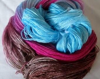 Hand dyed Tencel Yarn - 4/2 Tencel Lace Wt. Yarn  JASMINE - 420 yards