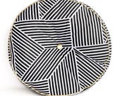 Throw Pillow with Tufting - Black and White Graphic Print with Gold Piping