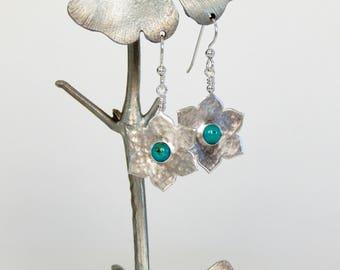 Sterling Silver Flower Earrings Natural Gemstones Dangle Earrings Botanical Earrings Handmade Earrings Gift For Her Boho Earrings