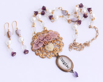 Forgive Necklace Set, February Birthstone, Gold Amethyst Jewelry, Word Necklace, Purple Amethyst Necklace, Pearl Necklace Hearts and Roses