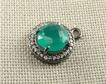 SHOP SALE Vibrant Green Onyx Gemstone Pendant in Black Rhodium over Sterling Silver with Pave Set White Topaz 12mm Round Charm (1 bead)