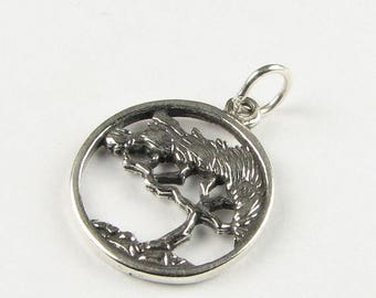 SHOP SALE 15mm Cypress Tree of Life Antiqued Sterling Silver Charm Round Circle Pendant with Open Jump Ring and Stamped 925(1 piece)