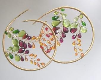 Mosaic Gold Filled Hoops, Gemstone Earrings, Handmade, Dramatic Jewelry, Peridot, Garnet, Chrome Diopside, Sapphire Vines, Original Design