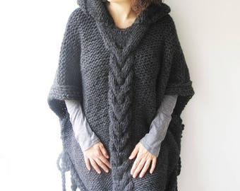50% CLEARENCE Dark Gray Plus Size Cable Knit Poncho with Hoodie  by Afra