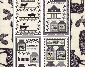 Homegrown Banners Quilt Patterns - Coach House Designs Farmhouse Quilts - 4 Patterns included - Homegrown Moda Fabric Pattern CHD-1711