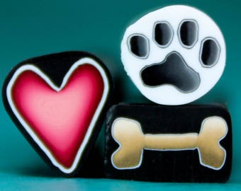 Set of 3 Polymer Clay Mini Canes -'Puppy Love' (27cc)