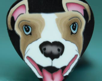 PIT BULL/ BOXER Polymer Clay Dog Cane -'Puppy Love' (26E)
