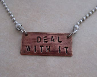 deal with it necklace stainless steel oxidized copper fun