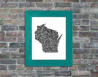 Wisconsin typography map framed art print state poster wall decor engagement wedding housewarming birthday gift