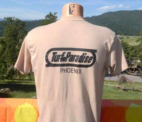 vintage 70s tee TURF PARADISE horse racing track phoenix arizona soft thin t-shirt XL Large 80s