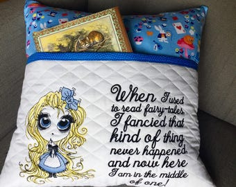 Reading pillow - Big Eye Alice in Wonderland Reading Pillow - Book Pocket Pillow - Reading Gift - Gift for Reader - Storybook Pillow