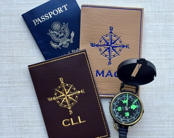 Custom Passport Cover - Tan Faux Leather Passport Holder For Him - Compass Motif Tavel Accessory with Monogram - Groom Gift for Men