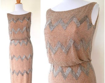 SUMMER SALE/ 30% off Vintage 50s 60s Stroke of Midnight Heavily Beaded Nude Silk Cocktail Dress with Ballet Slipper Pink Lining (size xs, sm