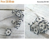 ON SALE Vintage Antique 1900/1920 French  hematite &  white glass beads /  beaded flower bouquet /10 flowers /French beadwork