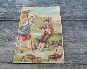 Vintage 1890 French Victorian Art print Chromolithograph/ children playing with homard and dog