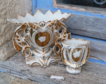 Vintage Antique 1900s French Vieux Paris gilted  wedding vases /bridal vases/set of 2 pieces