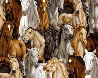 Allover Horses, David Textiles,  Horse Print, Tan, Brown, White, cotton quilting fabric - HALF YARD