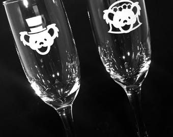 Grateful Dead Wedding Champagne Flutes Etched Glass Set of 2