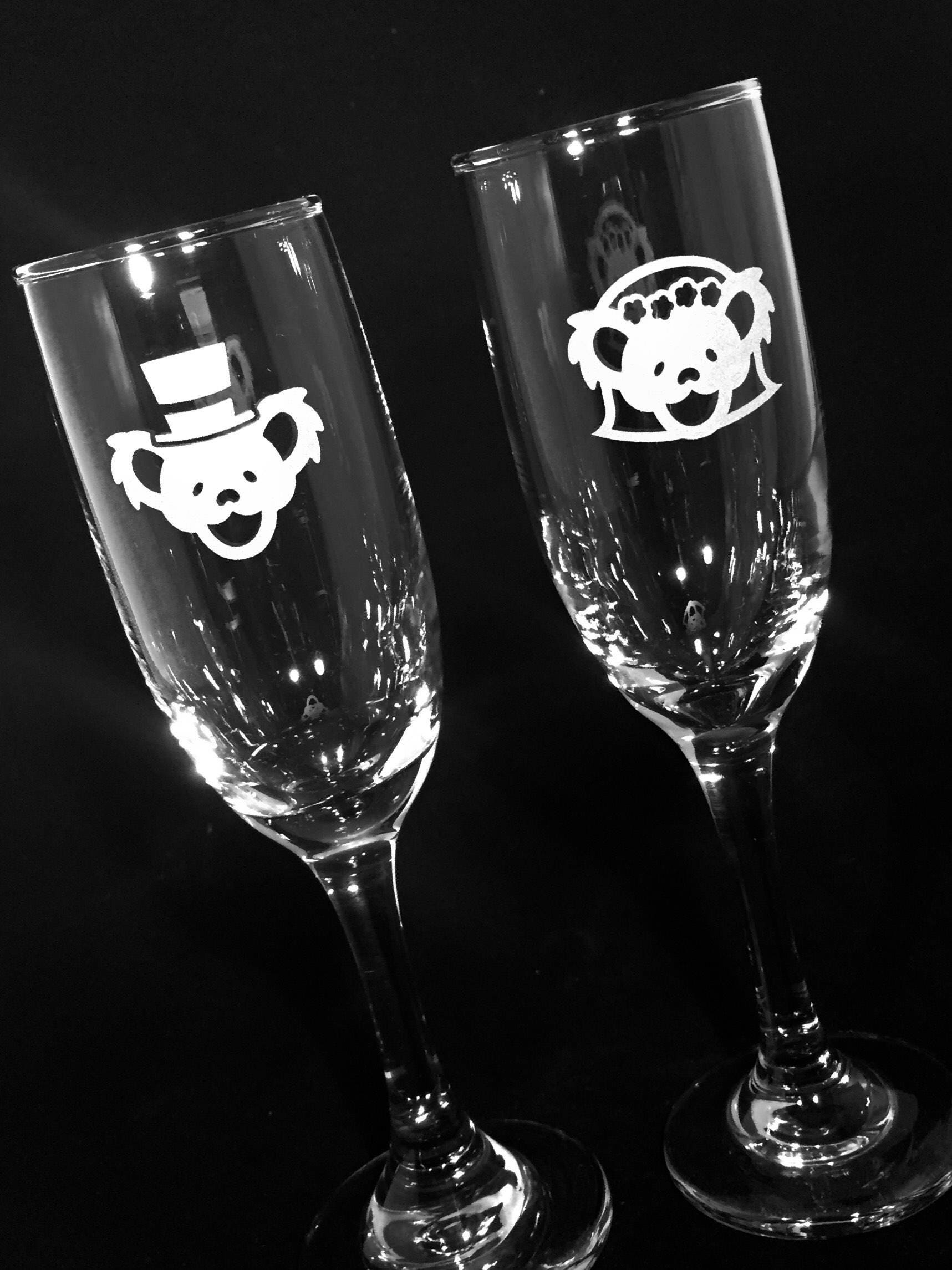 Grateful Dead Wedding Champagne Flutes Etched Glass Set Of 2