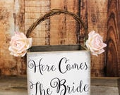 RESERVED Wooden Flower Girl Basket, Here Comes The Bride Wedding Decor, Rustic Wedding, Shabby Chic Wedding Basket, White-Barn-Paper Flowers