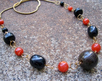 Eco-Friendly Statement Necklace - Air of Mystery - Recycled Vintage Elegant Herringbone Chain and Chunky Beads in Black and Paprika Spice