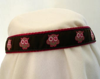 Owls - Dog Collar - 1 Inch Wide - Medium to Large - Adjustable Between 14-22 Inches - Pink and Brown - READY TO SHIP