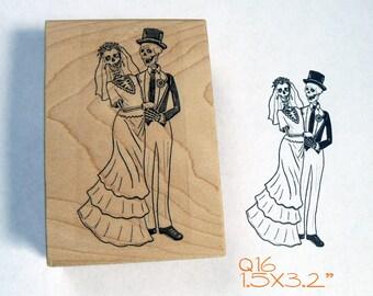 Q16 Skeleton bride and groom, wedding Rubber Stamp