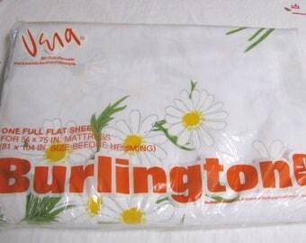 Vintage vera Neumann, Vera Neumann Sheet, Full Flat Sheet, Daisy Sheets, Burlington sheets, New in Package, Unused, 1960's, Bedding,