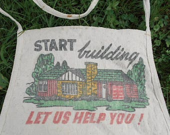Vintage lumber apron, Kubiak Lumber Co., Pulaski, WI - early 1 digit phone # - bib work apron