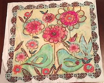 Green Love Birds fabric panel
