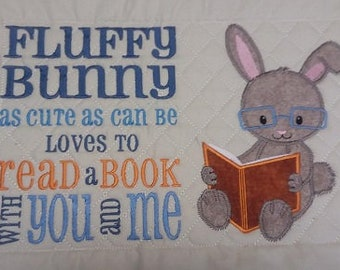 Fluffy Bunny Reading Pocket Pillow Front only