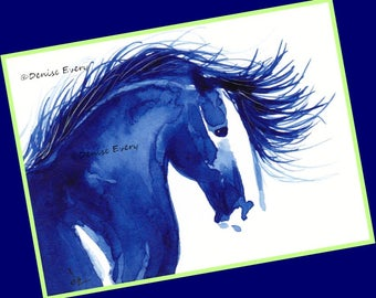 Mustang with Flowing Mane Abstract Horse Art Print  Wild Horse Print ACEO Horse Lover Horse Gift Horse ACEO Print Denise Every