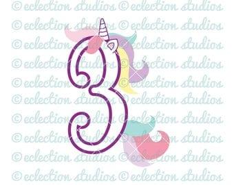 Unicorn SVG, Unicorn 3 Three, Third Birthday Unicorn number, commercial use SVG, DXF, eps, jpg, png for silhouette/cricut cutting machine