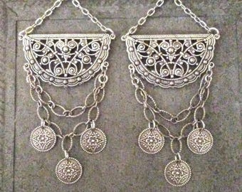 Antique Silver Chandelier Earrings  Belly Dance Earrings Floral Coins  By Red Gypsy Jewelry