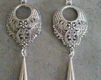Victorian Earrings  Antique Silver Long Chandelier Earrings Gifts For Her  By Red Gypsy Jewelry