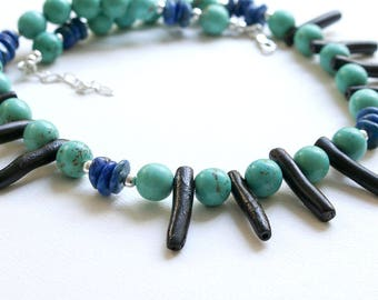 Turquoise and Lapis Gemstone Necklace  Black Coral and Blue Gemstone Necklace  Modern Beaded Gemstone and Silver Necklace  Gift for Woman