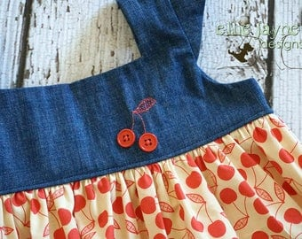 Cherry and denim retro style top and ruched bow shorts  RTS Ready to Ship size 5