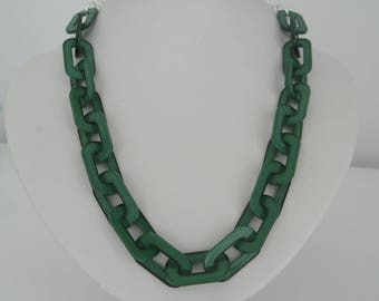 Trendy Lucite Chain Necklace in emerald green with silver chain and silver clasp Statement Necklace