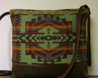 Wool Cross Body Bag Purse Shoulder Bag Brown Leather Southwest Print from Pendleton Oregon Southwest Style