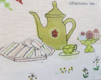 Vintage Tea Time Embroidery Fabric Textile Mixed Media Art Print in White Raised Mounted Frame Signed